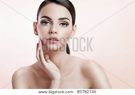 Front portrait of the woman with beauty face, skin care concept