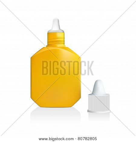 Illustration of yellow drop bottle isolated on white background