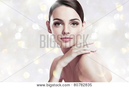 Beautiful young woman with make up face