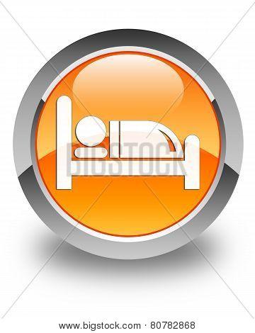Hotel Bed Icon Glossy Orange Round Button