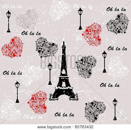 I love travel pattern paris. seamless background. love. vector