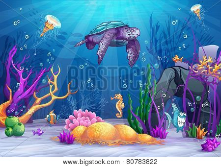 Illustration of the underwater world with a funny fish and turtle.