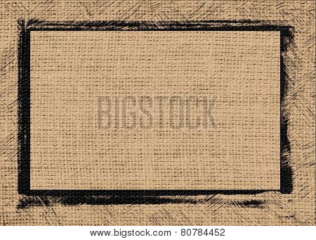 tan color burlap textured background with black frame design