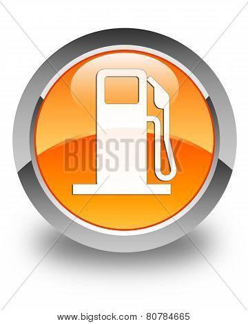 Fuel Dispenser Icon Glossy Orange Round Button
