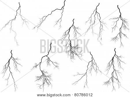 illustration with black lightning collection isolated on white background
