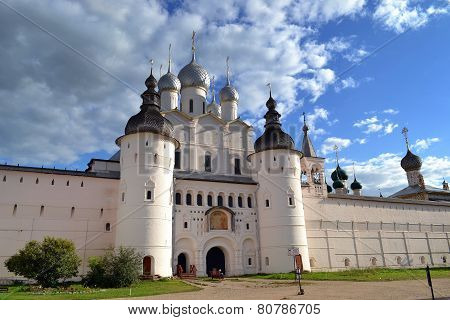 Gate of the Rostov Kremlin and Assumption Cathedral. 10.07.2014. Russia. Rostov