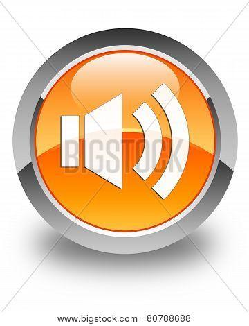 Volume Icon Glossy Orange Round Button