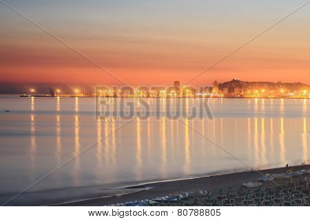 sunset over the beach of durres, albania