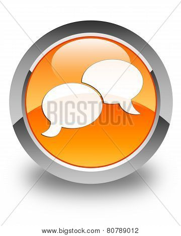 Chat Bubble Icon Glossy Orange Round Button