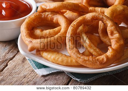 Deep Fried Onion Rings And Ketchup Horizontal