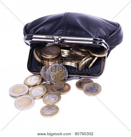Purse full of coins on a white background