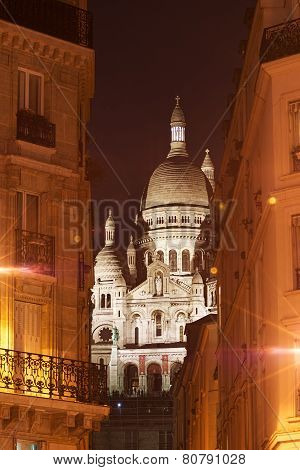 Montmartre, Night View Of The Sacré Coeur Boulevard Rochechouart