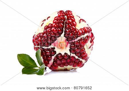 Pomegranate With Green Leaf