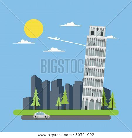 Flat Design Leaning Tower Of Pisa