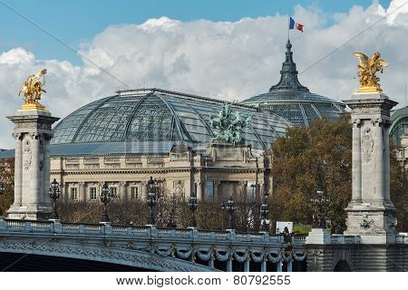 PARIS, FRANCE - NOVEMBER 03, 2014: Alexander III bridge and the Grand Palace in Paris
