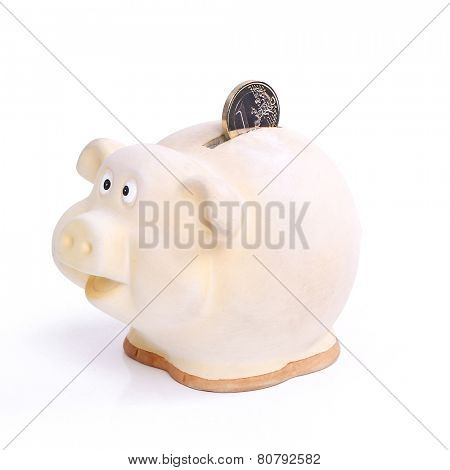 Piggy. Moneybox on the table