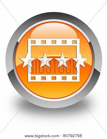 Movie Reviews Icon Glossy Orange Round Button