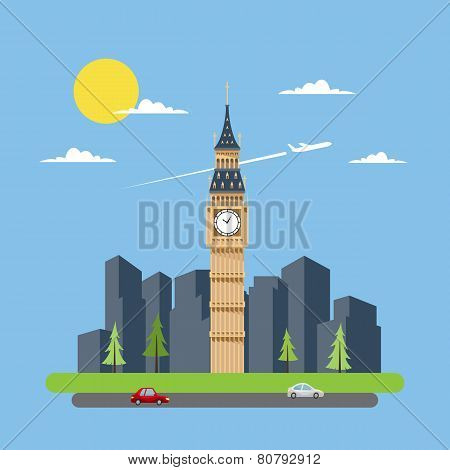 Flat Design Of Big Ben
