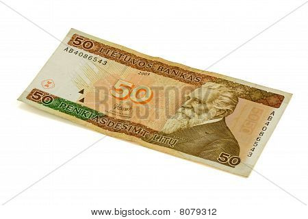 fifty litas banknote