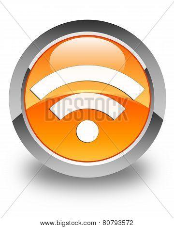 Wifi Icon Glossy Orange Round Button
