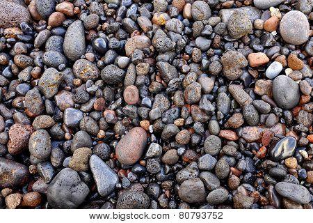 Wet Volcanic Pebbles
