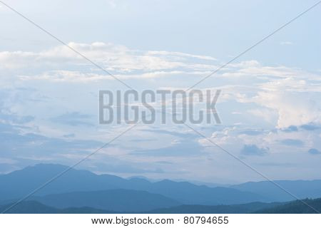 Mountain And Cloud In Sunset.