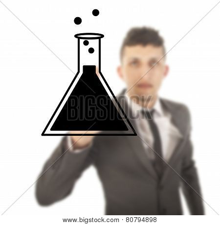 Young Male Student With Science Tube Isolated On White Background