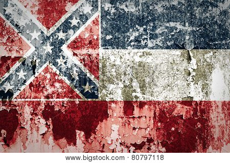 Mississippi state Flag on steel wall