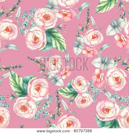 Hand drawn watercolor floral seamless pattern with tender pink roses in vector on the pink backgroun