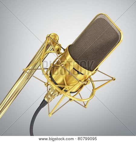 Gold Microphone. Speaker Concept.