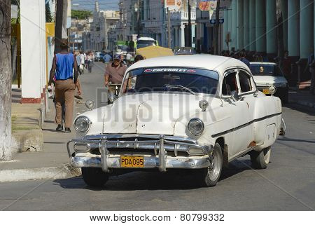 Vintage American car at the street of Pinar del Rio, Cuba.