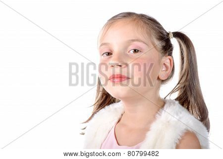 Pretty Little Girl With Pigtails