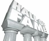 picture of memorial  - Hall of Fame words in 3d letters on stone or marble columns to illustrate a legend in sports or entertainment inducted into a special honorary place for memorial - JPG