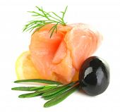 stock photo of olive shaped  - Sliced and rolled salmon - JPG