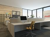 stock photo of workstation  - 3D Rendering of Modern office interior with multiple open - JPG