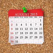 picture of august calendar  - August 2015 Calendar on cork board 3d render - JPG