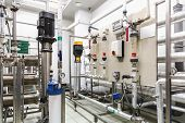 pic of pharmaceutical  - Control panel equipment on water conditioning or distillation room on pharmaceutical industry or chemical plant - JPG