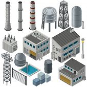 picture of combine  - Huge collection of isometric industrial buildings and other objects - JPG