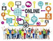 stock photo of social system  - Global Online Communication Social Networking Technology Concept - JPG
