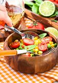 stock photo of sweet pea  - Fresh salad with sweet corn green peas tomato and chilli pepper