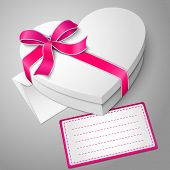 picture of bowing  - Vector realistic blank white heart shape box with ribbon and bow - JPG