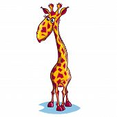 stock photo of animated cartoon  - vector Image of a sad cartoon giraffe - JPG