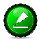 stock photo of bristle brush  - Tooth paste and brush icon - JPG
