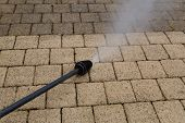 image of water jet  - Outdoor floor cleaning with high pressure water jet - JPG