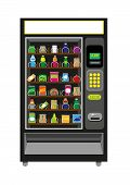 picture of food chain  - An illustration vector and jpg of an automated Vending Machine filled with food and beverages - JPG