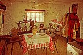 stock photo of farmhouse  - Romanian farmhouse interior the Banat region  - JPG