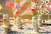stock photo of gotcha  - Colorful paintball exercise ground  - JPG