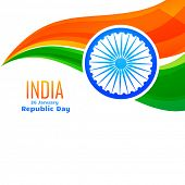 pic of indian flag  - vector indian flag design in wave style with space for your text - JPG