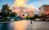 foto of highrises  - Indianapolis skyline at sunset - JPG
