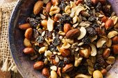 foto of mixed nut  - Raw Organic Homemade Trail Mix with Nuts and Fruits - JPG